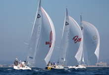 J/105 one-design sailboats- sailing Hot Rum San Diego