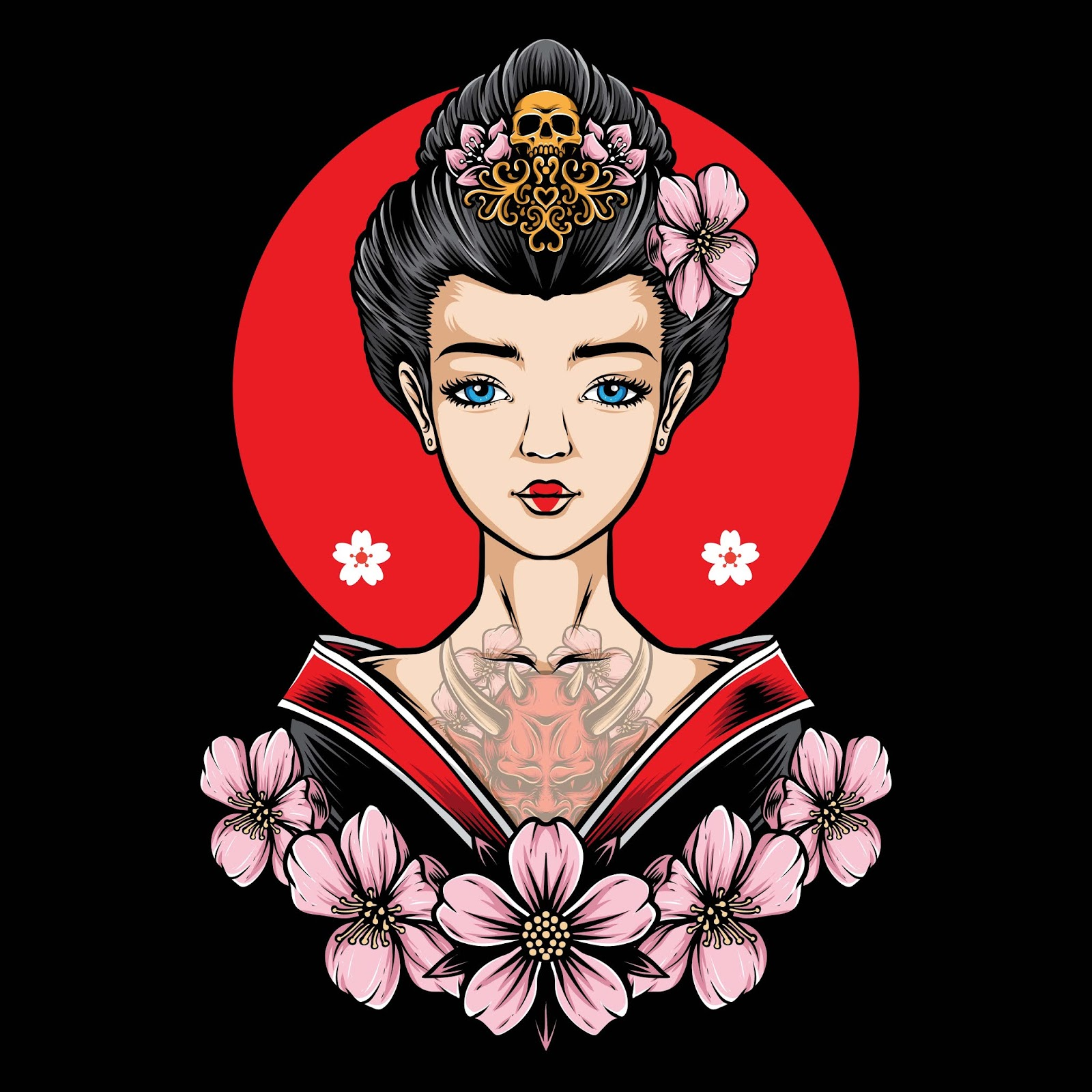 Tattooed Geisha With Sakura Vector Free Download Vector CDR, AI, EPS and PNG Formats