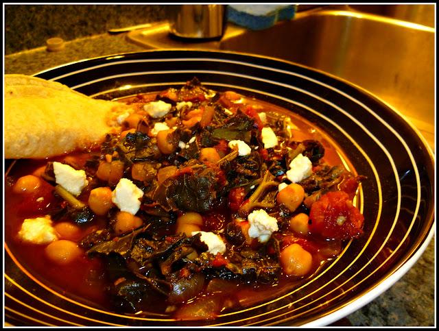 Chorizo, Chickpea and Collard Green Soup