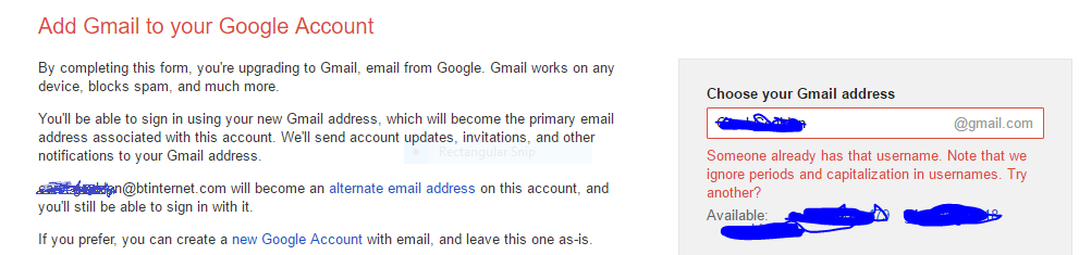 Prompted to create a new gmail account when signing in