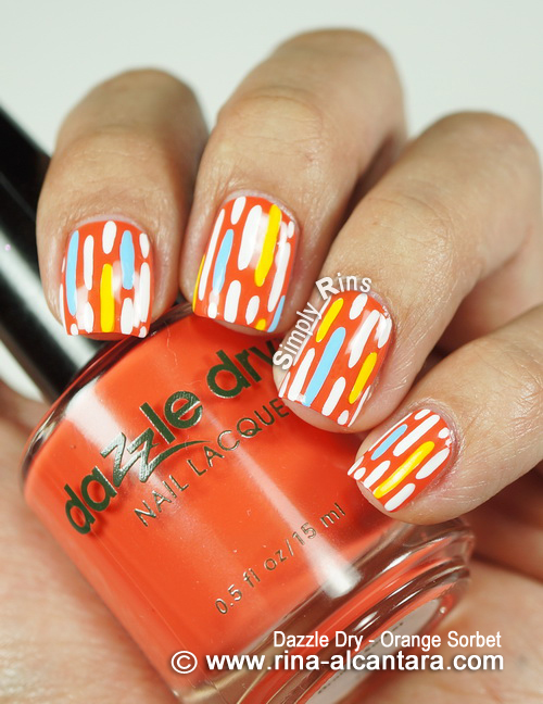Broken Lines Nail Art Design on Dazzle Dry Orange Sorbet