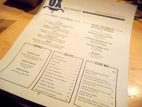 Ox restaurant dinner