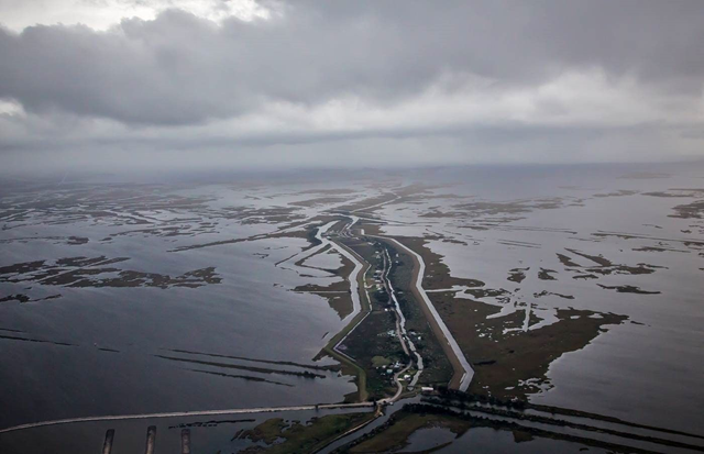 Aerial view of Isle de Jean Charles, Louisiana. The water around Isle de Jean Charles is slowing creeping in. Photo: Louisiana Office of Community Development
