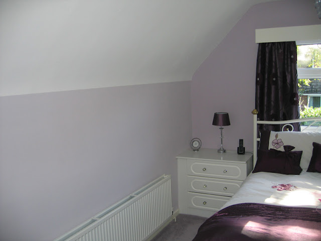 Bedroom lined and painted in Aughton, Lancs (two different shades of paint used)