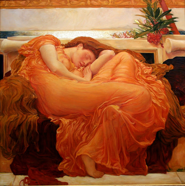 Quadro donna vestita di arancione Frederic Leighton