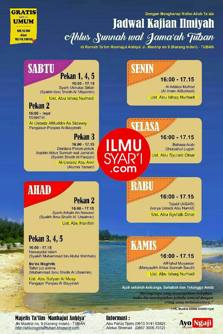 Informasi Jadwal Kajian Sunnah di Tuban