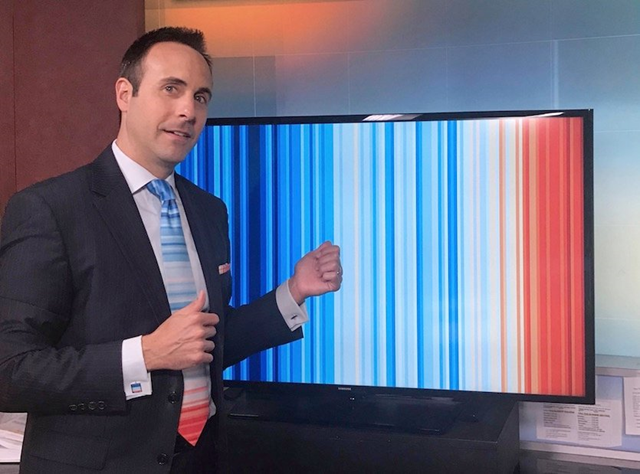 West Palm Beach broadcast meteorologist Jeff Berardelli (CBS12) with the warming-stripes graphic being used in the Meteorologists United on Climate Change campaign on 21 June 2018. Photo: Jeff Berardelli