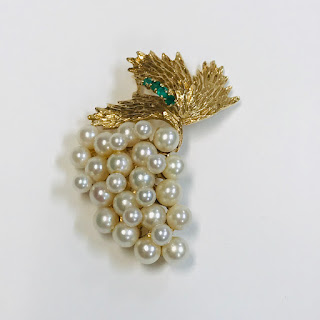 14K Gold, Green Stone, and Pearl Brooch