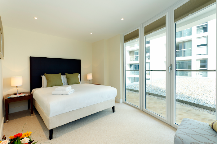 Bedroom at Canary Wharf apartment