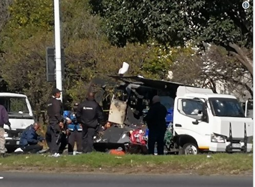 WATCH | The moment 2 cash-in-transit vans are blown up in Boksburg heist