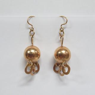 14K Gold Sphere Earrings