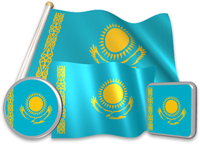 Kazakhstani flag animated gif collection
