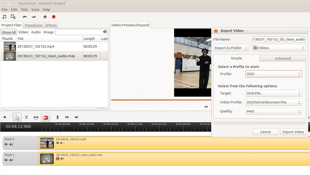 Clean Up Video Soundtrack using ffmpeg, Audacity and Openshot