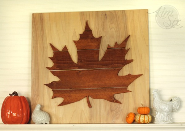 Large leaf silhouette wooden mantel fall
