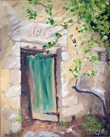 """""""Tür eines zerfallenen Hauses"""" 30x24cm Öl auf Leinwand"""