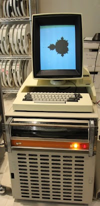 The Xerox Alto. The disk drive is the black unit below the keyboard. The processor is behind the grill. The Mandelbrot set has nothing to do with this article.