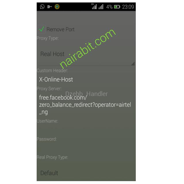Airtel 0.0kobo Unlimited Free Browsing Tweakware settings 1