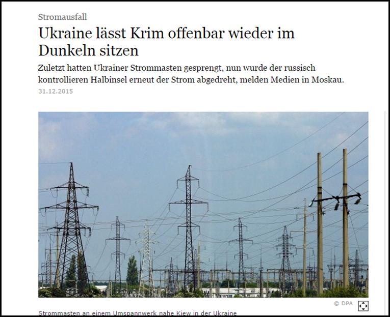Ukraine dreht Krim wieder Strom ab