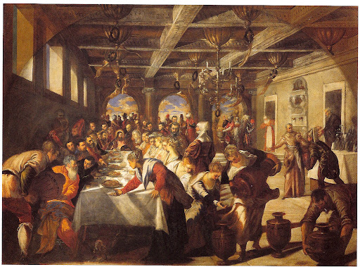 Jacopo Tintoretto.  Marriage Feast at Cana, 1561.  Venice, Church of S. Maria della Salute. In Private Lives in Renaissance Venice, Patricia Fortini Brown,  2004 Yale Univ Press