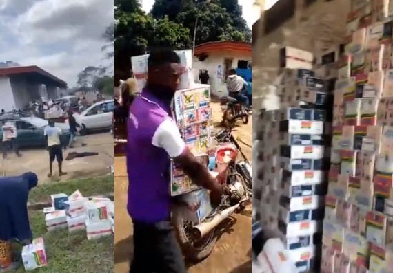 Videos Of Osun Residents Carting Away COVID-19 Palliatives Stored In The Cocoa Processing Warehouse
