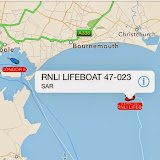 What would we do without mobile phones?! Image on AIS (automatic identification system) that shows the track of Poole lifeboat at 2111 (9.11pm). Barfleur and Condor ferries also seen heading into Poole Harbour after a stormy crossing. 10 August 2014 Photo: RNLI Poole/Oli Mallinson