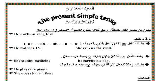 مذكرة قواعد اللغة الانجليزية للمرحلة الابتدائية والاعدادية
