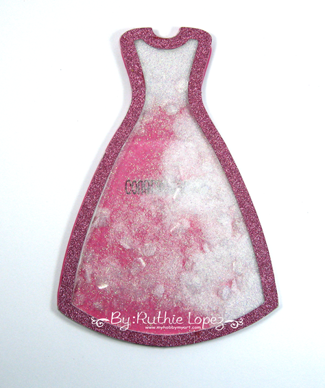 Dress shaker card - The Cutting Cafe - Ruthie Lopez - Latinas Arts and Crafts