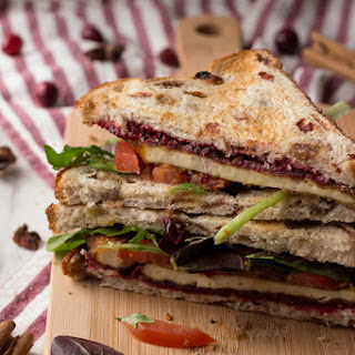 Crispy Pan Fried Tofu Sandwich with chai cranberry sauce.