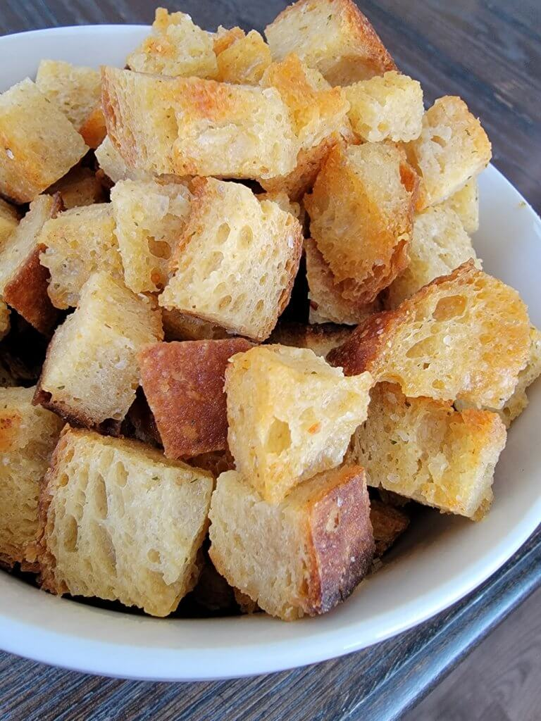pile of croutons in a bowl