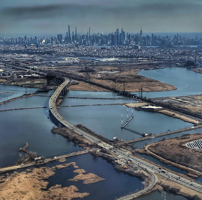Aerial view of Manhattan from Newark Airport