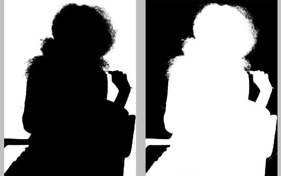 Canal antes e depois de ser invertido (Ctrl + I)