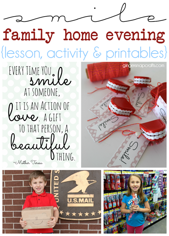 Smile Family Home Evening Lesson, Activity & Printables at GingerSnapCrafts.com #FHE #printable #imamormon