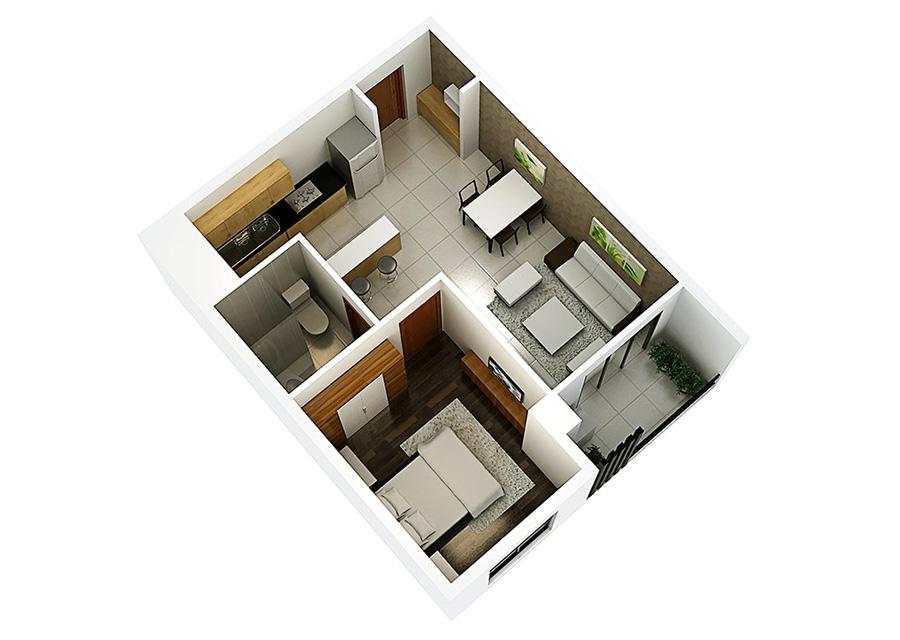 Phối cảnh 3D căn hộ 1 phòng ngủ DT: 48,12 m2