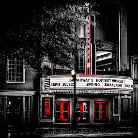 Off Broadway by Aulander Skinner - City,  Street & Park  Historic Districts ( black and white, street, theater, minimal color, small, city )