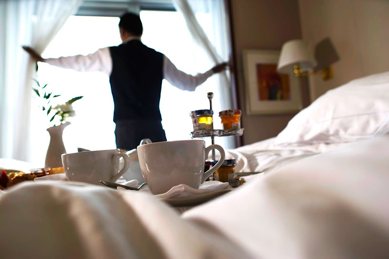 Room service at breakfast time in the Veranda Suite on Silver Spirit.