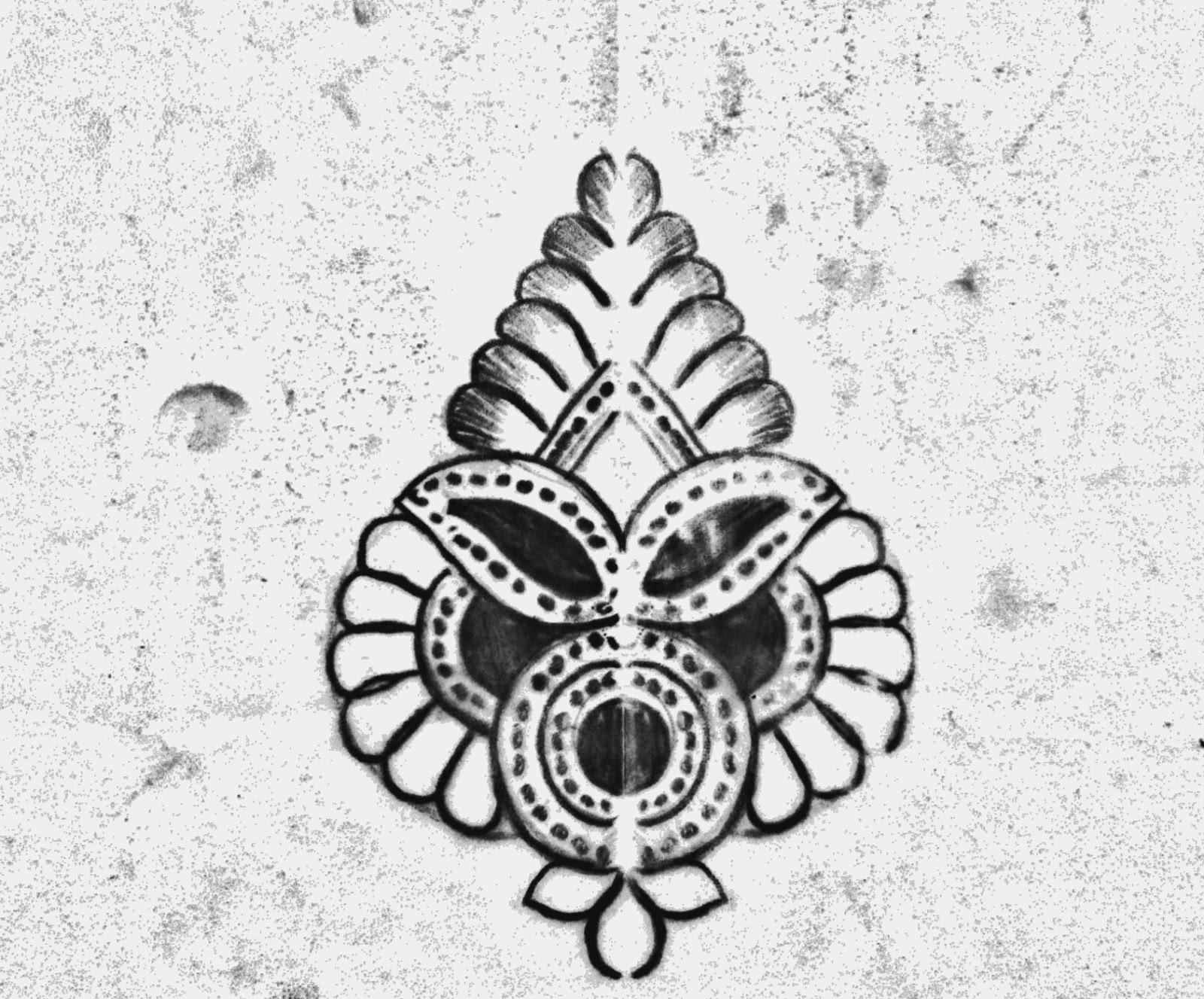 Small butta butta all over saree design patterns on tracing paper.embroidery design pencil sketch.