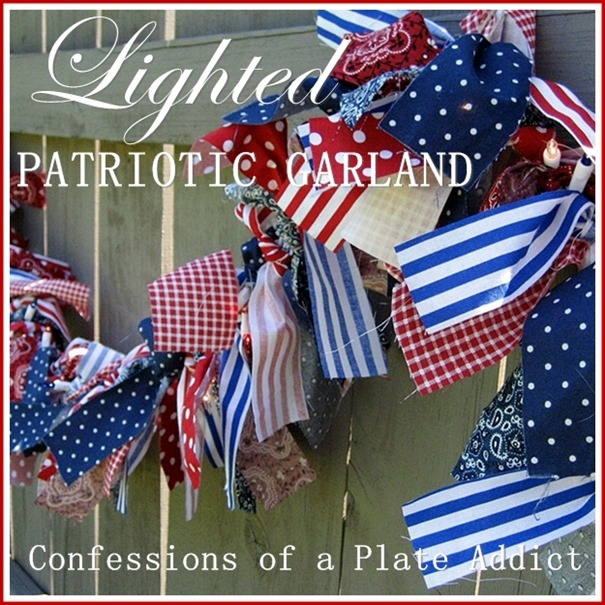 CONFESSIONS OF A PLATE ADDICT Indoor-Outdoor Lighted Patriotic Garland