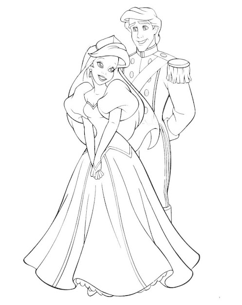 Disney Princess Coloring Pages Ariel In Dress  Disney