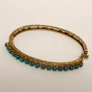 14K Gold and Turquoise Bracelet
