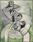 Pablo Picasso: Anyaság, 1971 olaj, vászon, 162 x 130 cm (Fotó: Musée national Picasso-Párizs Pablo Picasso hagyaték, 1979. MP226 © RMN-Grand Palais (Musée national Picasso-Paris)/Jean-Gilles Berizzi © 2016 – Succession Pablo Picasso – HUNGART)