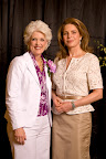 Jan Langbein, Genesis Women's Shelter executive director, and Queen Noor