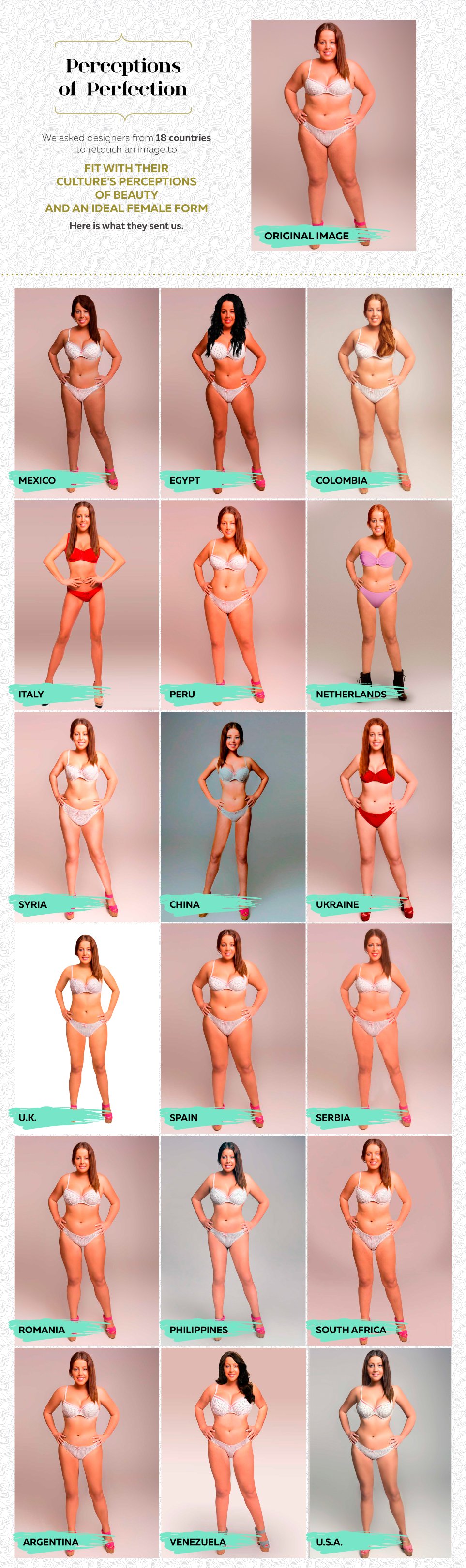 Estos son los estándares de belleza en 18 países descubiertos gracias al Photoshop