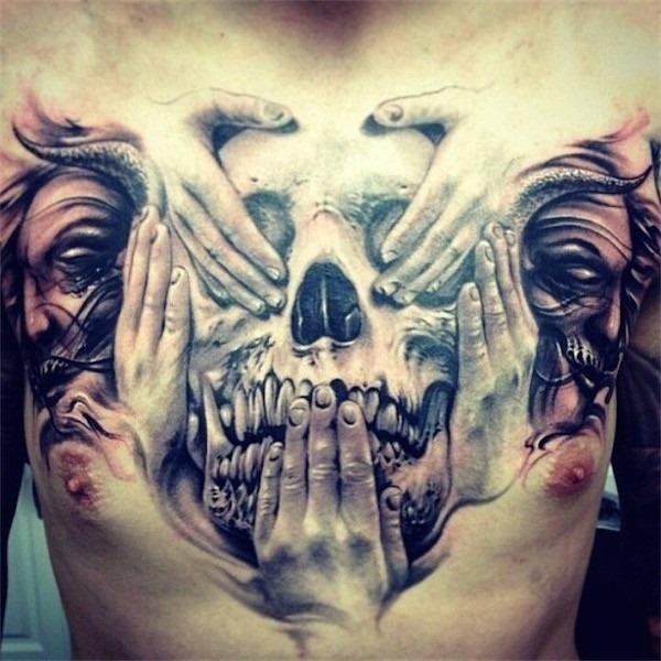 crnios_e_rostos_tatuagem_no_peito_para_homens