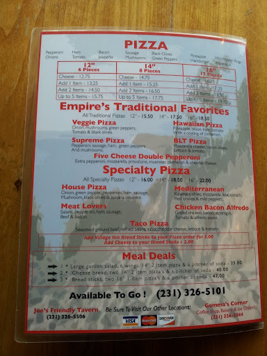 Empire Village Inn Menu