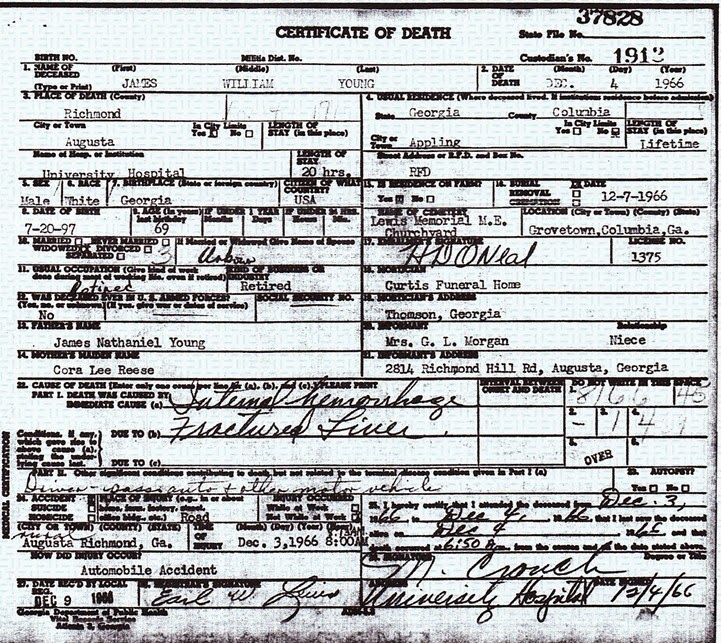 Young, James death certificate 1966
