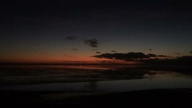 Zonsondergang in het wad bij Ameland