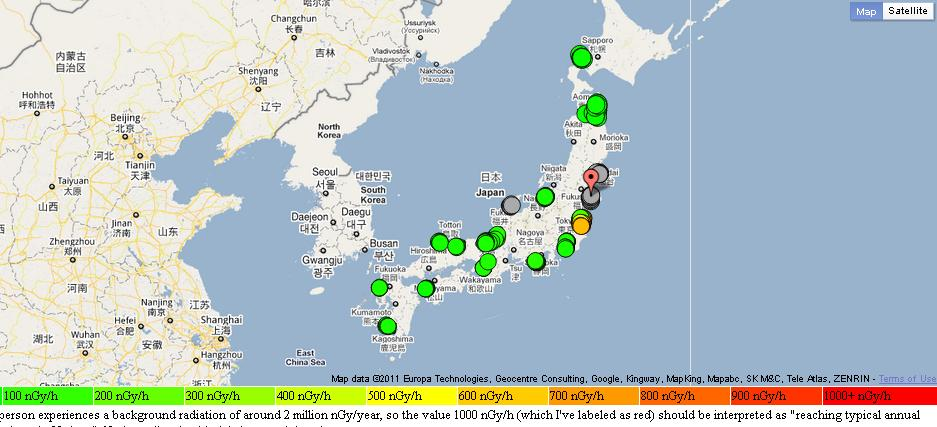 Wonderful ( See An Update On Radiation Data From Japan ). Then, Geir Engdahl Put This  Data In A Google Maps. The Data Is Refreshed Every Ten Minutes.