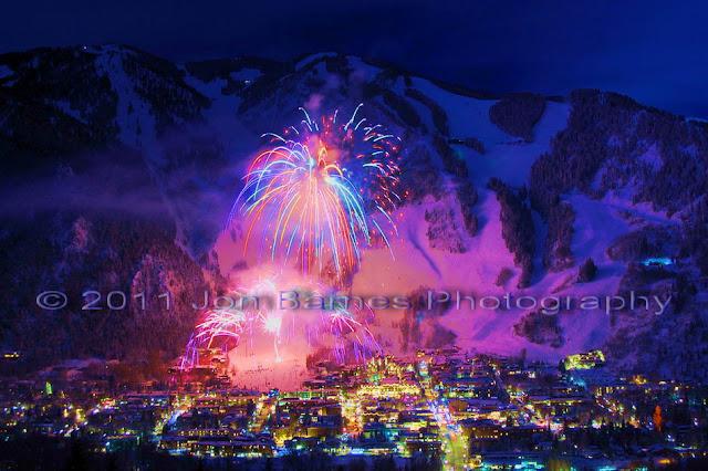 Aspen Colorado Fireworks In Winter