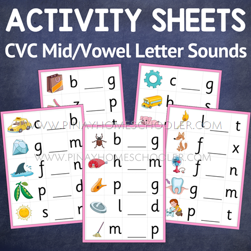 Middle or Vowel Letter Sound Activity Sheets (Montessori Pink Series)