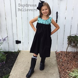 Mod Halloween Dress Black Teal Cats by Daydream Believers Designs